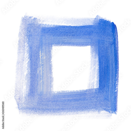canvas print picture Watercolor geometric hand-drawn square blue dry brush painted symbol on paper. Isolated on white.