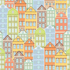 Colorful houses seamless pattern, city background, urban landscape. Multicolored bright European brick house, flat drawing, architecture ornament, vector illustration. For fabric design, wallpaper