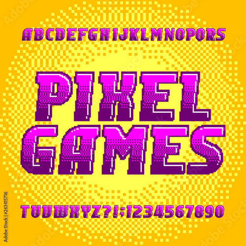 Pixel Game alphabet font. Digital gradient letters and numbers on pixel background. 80s retro arcade video game typeface.