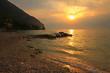 canvas print picture - romantischer Sonnenuntergang in Gargnano am Gardasee