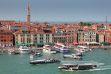 Busy waterway in Venice , Italy