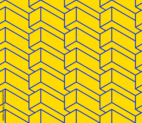 Isometric seamless pattern, volume realistic texture, color stroked background. 3d geometric tiles with cubes. Architectural backdrop for web, wallpaper, fabric, wrapping, paper, print. © Divin