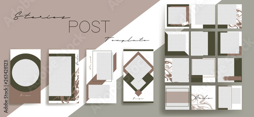 Design backgrounds for social media banner.Set of instagram stories and post frame templates.Vector cover. Mockup for personal blog or shop.Layout for promotion.Endless square puzzle layout for promo