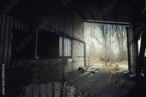 canvas print picture Abandoned room in Pripyat cement factory, Chernobyl Exclusion Zone 2019