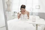 Bride spilling coffee on wedding dress