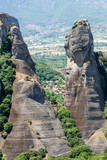 rocks and view of the Greek village in the mountains of Thessaly