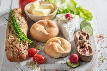 Homemade preparation for sandwich with cheese, tomato and radish