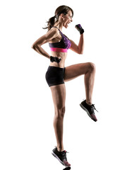 one caucasian woman exercising cardio boxing cross core workout fitness exercise aerobics silhouette isolated on white background © snaptitude