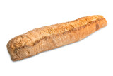 Hand made fresh baked baguette isolated on white background with clipping path