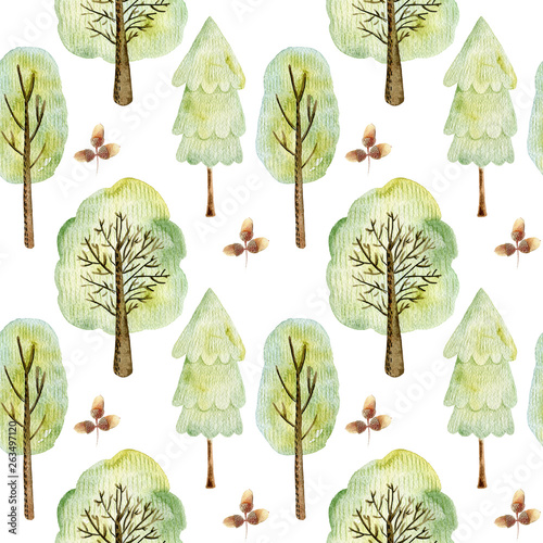 Watercolor forest pattern.