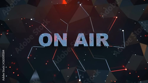 ON AIR sign. Broadcast media illustration. Seamless loop 3D render animation