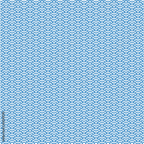 vector background of blue japanese wave pattern © charnsitr