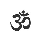 Om or Aum Indian sacred sound icon isolated. Symbol of Buddhism and Hinduism religions. The symbol of the divine triad of Brahma, Vishnu and Shiva. Flat design. Vector Illustration
