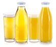 canvas print picture - Apfelsaft Orangensaft Saft Säfte Getränk frische Glas Flasche freigestellt Freisteller isoliert