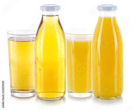 canvas print picture Apfelsaft Orangensaft Saft Säfte Getränk frische Glas Flasche freigestellt Freisteller isoliert