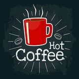 Red cup coffee. Vector flat illustration with engraving rays, lettering, bubble