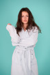 canvas print picture - Spa and wellness concept. Girl no makeup face long hair wear bathrobe turquoise background. Ready for spa procedures. Woman relaxed after massage session or spa. Beauty salon. Spa and skin care