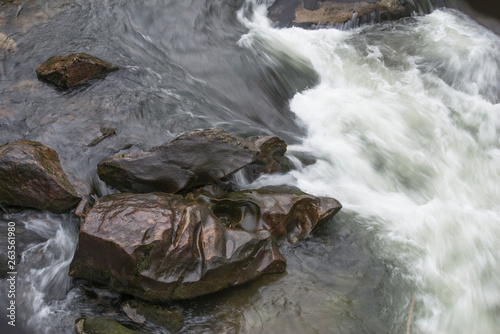 Detail of the water in movement on a river in Galicia (Spain)
