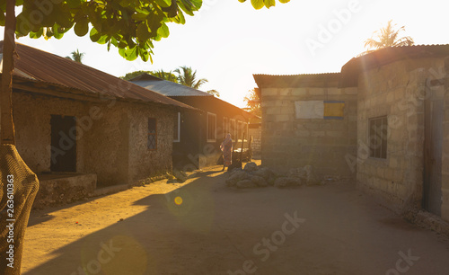 Dawn in a local African village. Zanzibar, Tanzania, Africa