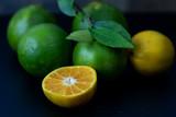 Fresh orange from the garden Cut half