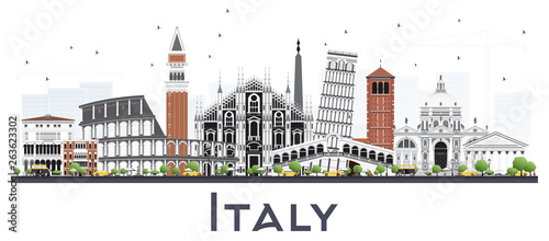 Italy City Skyline with Gray Buildings Isolated on White.
