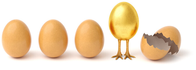 Row of chicken eggs. One golden egg with golden chicken feet and one Broken Egg Shell. isolated on a white background. © dimdimich