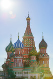 St Basil's cathedral on Red Square in Moscow. Domes the cathedral lit by the sun.