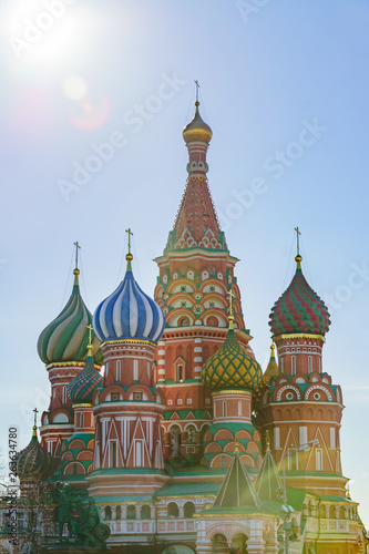 St Basil's cathedral on Red Square in Moscow. Domes the cathedral lit by the sun. © IKvyatkovskaya