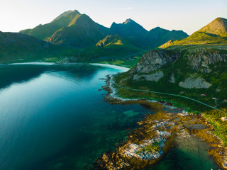 Seascape with sandy beach Lofoten Norway