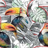 Seamless watercolor pattern. Toucan bird and tropical leaves.