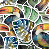 Seamless watercolor pattern of tropical leaves and birds toucan.