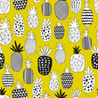Vector Seamless Pattern with Pineapples. Drawing seamless background with pineapples  - 263655953