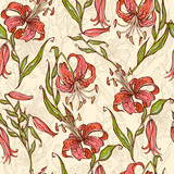 Seamless pattern with Tiger lilies. Vector illustration.
