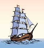 Sailing vessel. Vector drawing