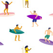 Surfers on surfboards in sea waves seamless pattern. Vector