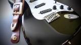 electric guitar and guitar straps . closeup