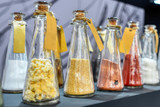 Chemical reagents in glass jars.