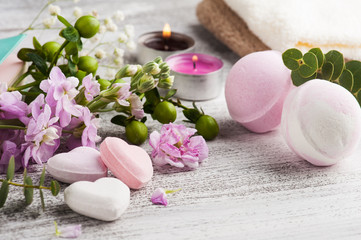 Spa products with bath bombs © Irina Bort