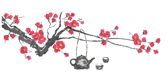 Chinese tea ceremony and a branch of a blossoming sakura.  Pink and red stylized flowers   wild cherry . Watercolor and ink illustration  in style sumi-e, go-hua. Oriental traditional painting.  © marinakutukova