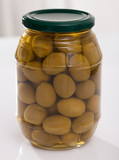 Glass jar of olives