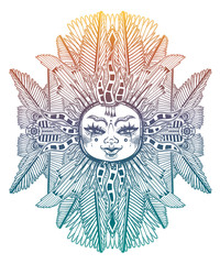 Fantasy inspired tribal sun star with a human face. Ornamental decoration, folk print