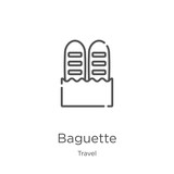 baguette icon vector from travel collection. Thin line baguette outline icon vector illustration. Outline, thin line baguette icon for website design and mobile, app development.
