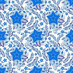 Porcelain Henna flower elemental illustration vector with indigo blue tone background