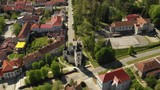 Croatia, Slavonia, town of Daruvar, main square and catholic church in spring, panoramic drone view