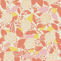 seamless pattern with abstract hand drawn pomegranate