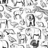 Hunt season animals and birds seamless pattern