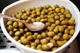 olives in the white pot