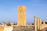 Rabat, Morocco - February 22.2019: Rabat's Hassan Tower and the incomplete Mosque pillars.