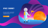 Astronaut conquers the planet. Space journey concept. Modern vector illustration