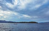 A small boat near the coast of Corfu, Greece